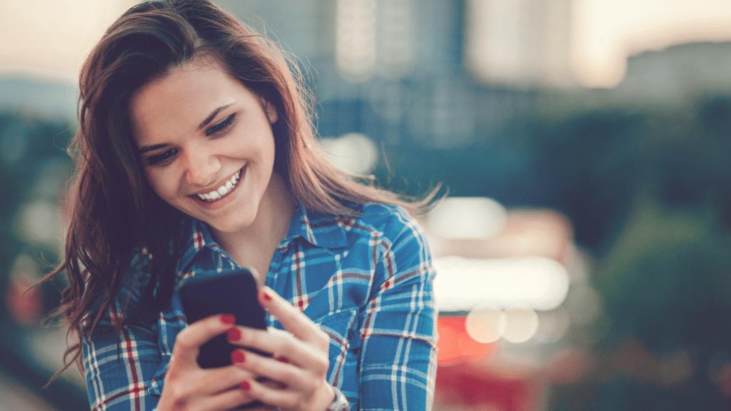 Woman finding joy on digital